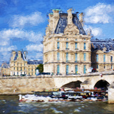 Paris Louvre II - In the Style of Oil Painting Giclee Print by Philippe Hugonnard