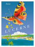 Lucerne - Suisse (Switzerland) - Butterfly Poster by  Schmidlin & Magoni