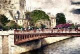 Paris Bridge Lovers Giclee Print by Philippe Hugonnard