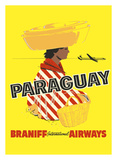 Paraguay - South America - Braniff International Airways Giclée-tryk af Pacifica Island Art