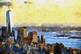 NYC Fiery Sunset II Giclee Print by Philippe Hugonnard