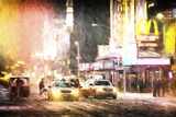 Times Square Snowstorm Giclee Print by Philippe Hugonnard