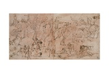 Studies of Warriors, Horsemen, and Lions, 1528-33 Giclee Print by Perino Del Vaga