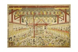 Large Perspective Picture of the Kaomise Performance on the Kabuki Stage, C.1745 Giclee Print by Okumura Masanobu