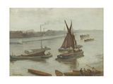 Grey and Silver: Old Battersea Reach, 1863 Giclee Print by James Abbott McNeill Whistler