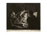 Three Persons Viewing the Gladiator by Candlelight, Engraved by William Pether, 1769 Giclee Print by Joseph Wright of Derby