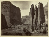 Cañon De Chelle, Walls of the Grand Cañon, About 1200 Feet in Height, 1873 Photographic Print by Timothy O'Sullivan