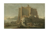 Landscape with Rock and Fortress, C.1640-50 Giclee Print by Domenico Gargiulo