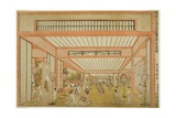 Views of Reception Rooms in Japan - Entertainments on the Day of the Rat in the Modern Style Giclee Print by Utagawa Toyoharu