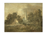 Wooded Landscape with Village Scene, Early 1770-72 Giclee Print by Thomas Gainsborough