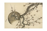 Plum Blossom and the Moon from the Book Mount Fuji in Spring (Haru No Fuji), C.1803 Giclée-tryk af Katsushika Hokusai