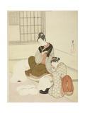 Evening Snow on a Floss Shaper (Nurioke No Bosetsu), C.1766 Giclee Print by Suzuki Harunobu