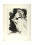 Half-Length Portrait of a Seated Woman, Smoking a Cigarette, Facing Left, C.1900 Giclee Print by Paul Cesar Helleu