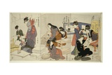 Artist, Block Carver, Applying Sizing, C.1803 Giclee Print by Kitagawa Utamaro