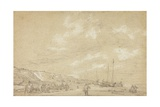 Fishermen Drying Nets on Scheveningen Beach Giclee Print by Simon Jacobsz. Vlieger
