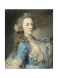A Young Lady with a Parrot, C.1730 Giclee Print by Rosalba Giovanna Carriera