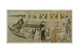 Pleasure Boats Below Azuma Bridge, C.1784 Giclee Print by Torii Kiyonaga