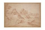 Landscape with a Castle, 1716-18 Giclée-tryk af Jean Antoine Watteau