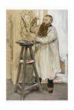 Portrait of the Sculptor Auguste Rodin in His Studio, C.1889 Giclee Print by Jean Francois Raffaelli