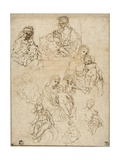 Sketches of the Virgin and Child, and the Holy Family, 1642-48 Giclee Print by Simone Cantarini