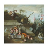 Still Life with Monkey, Fruits, and Flowers, 1724 Giclee Print by Jean-Baptiste Oudry