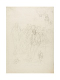 A Group of Men, and Other Sketches, 1857 Giclee Print by Honore Daumier
