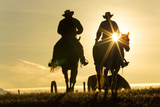 Cowboys on Horses, Sunrise, British Colombia, Canada Photographic Print by Peter Adams