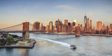 Usa, New York, New York City, Lower Manhattan and Brooklyn Bridge Photographic Print by Michele Falzone