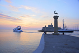 Bronze Doe and Stag Statues at the Entrance of Mandraki Harbour, Rhodes, Dodecanese Photographic Print by Neil Farrin