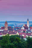 Elevated View over Old Town Illuminated at Dawn, Donauworth, Swabia, Bavaria, Germany Photographic Print by Doug Pearson
