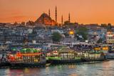 Suleymaniye Mosque and City Skyline at Sunset, Istanbul, Turkey Fotografisk tryk af Stefano Politi Markovina