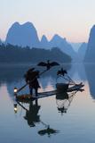 Cormorant Fisherman on Li River at Dawn, Xingping, Yangshuo, Guangxi, China Photographic Print by Ian Trower