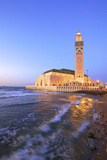 Exterior of Hassan Ll Mosque and Coastline at Dusk, Casablanca, Morocco, North Africa Photographic Print by Neil Farrin
