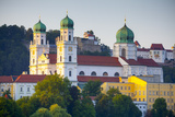 St. Stephan's Cathedral and Veste Oberhaus Fortress Illuminated at Sunset, Passau, Lower Bavaria Photographic Print by Doug Pearson