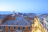 View over Corfu Old Town with Agios Spyridon at Dusk, Corfu Old Town, Corfu Photographic Print by Neil Farrin