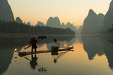 Cormorant Fisherman on Li River at Dawn, Xingping, Yangshuo, Guangxi, China Photographic Print by Ian Trower