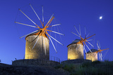 Illuminated Windmills of Chora, Patmos, Dodecanese, Greek Islands, Greece, Europe Photographic Print by Neil Farrin