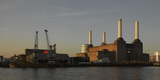 Battersea Power Station at Dawn, with Cranes and Buildings Photographic Print by Richard Bryant