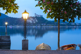 La Rocca Fortress Viewed from Arona at Dusk, Lake Maggiore, Piedmont, Italy Photographic Print by Doug Pearson