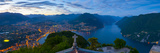 Elevated View over Lugano from Monte San Salvatore Illuminated at Dusk, Lake Lugano, Ticino Photographic Print by Doug Pearson