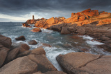 Pink Granite Coast, Brittany, France. the Ploumanach Lighthouse (Men Ruz) an Sunset. Photographic Print by  ClickAlps