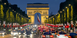View Down the Champs Elysees to the Arc De Triomphe, Illuminated at Dusk, Paris, France Photographic Print by Gavin Hellier