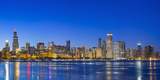 Usa, Illinois, Chicago. the City Skyline and a Frozen Lake Michigan from Near the Shedd Aquarium. Photographic Print by Nick Ledger