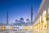 Courtyard and White Marble Exterior of Sheikh Zayed Grand Mosque, United Arab Emirates, Abu Dhabi Photographic Print by Nick Ledger