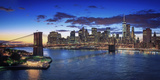 Usa, New York, New York City, Lower Manhattan and Brookly Bridge Photographic Print by Michele Falzone