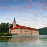 The Picturesque Weltenburg Abbey and the River Danube Illuminated at Sunrise, Lower Bavaria, Bavari Photographic Print by Doug Pearson