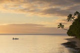 People Kayaking at Sunset, Leleuvia Island, Lomaiviti Islands, Fiji Photographic Print by Ian Trower