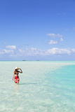 Woman at Blue Lagoon, Fakarava, Tuamotu Islands, French Polynesia (Mr) Photographic Print by Ian Trower