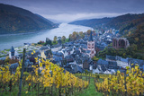 Germany, Rheinland-Pfalz, Bacharach, Elevated Town View, Autumn Photographic Print by Walter Bibikow