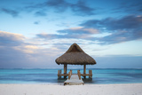 Dominican Republic, Punta Cana, Playa Blanca, Wooden Pier with Thatched Hut Photographic Print by Jane Sweeney